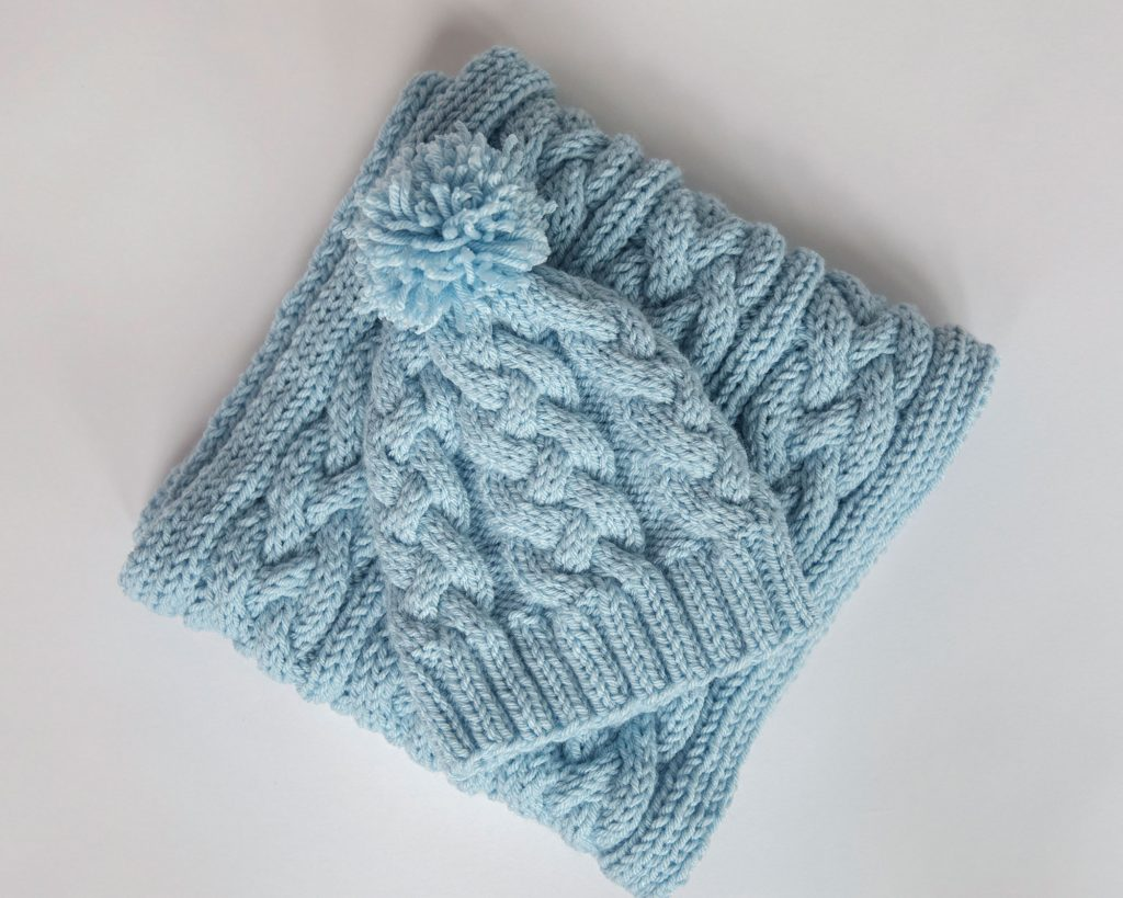 Cable Knit Scarf and Hat Matching Set Pattern