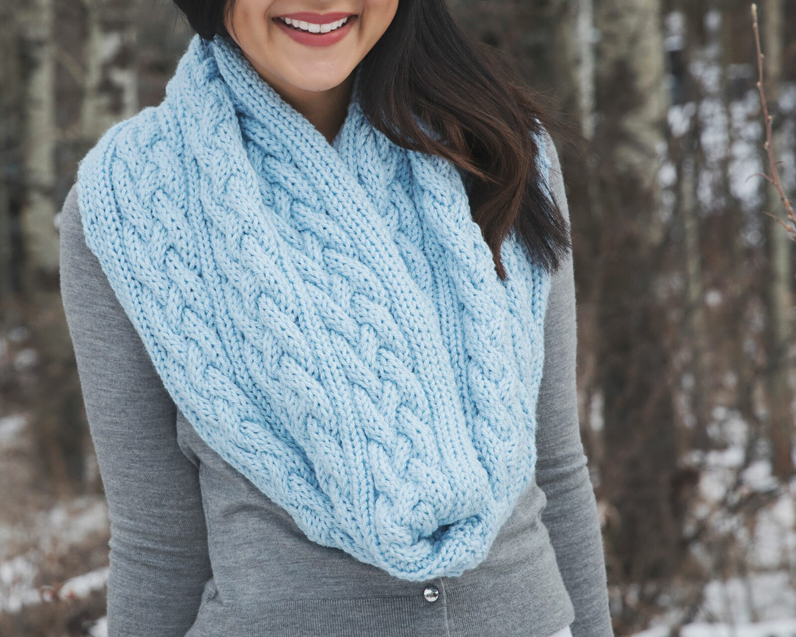Knitting Pattern Infinity Scarf Straight Needles : Braided Cables Winter Scarf Knitting Pattern - Leelee KnitsLeelee Knits