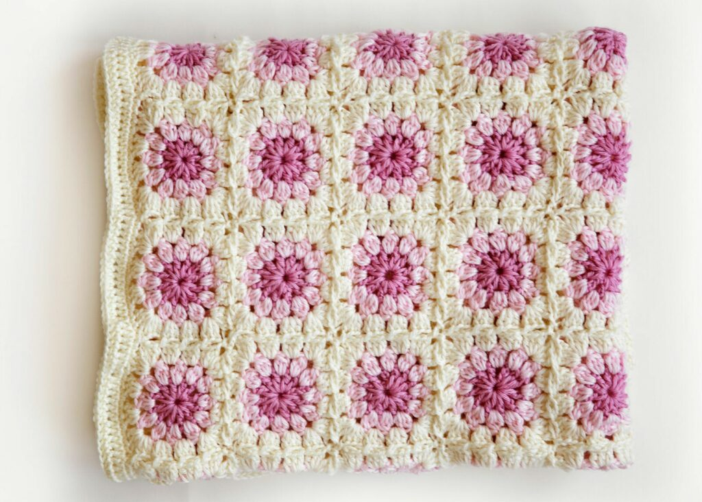 Granny Square Crochet Blanket Pattern folded top view