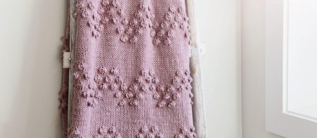 Chevron Bobble Stitch Knit Blanket Pattern