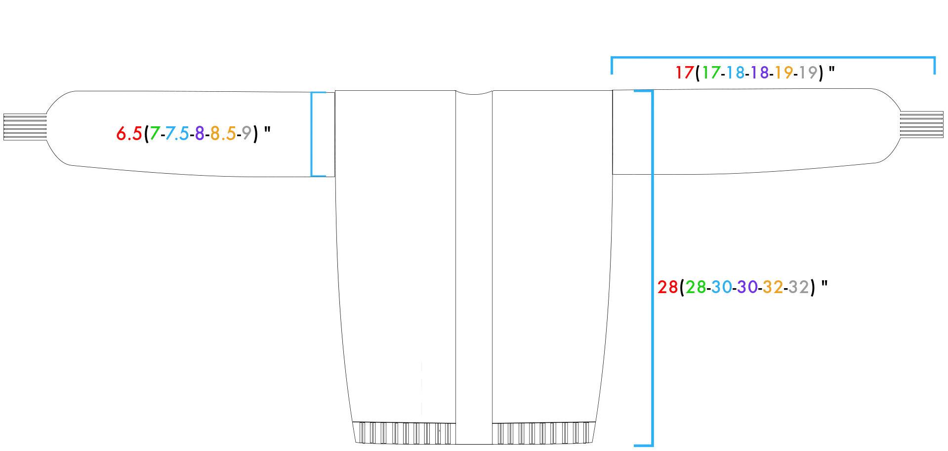 Medidas del patrón de tejido de cárdigan