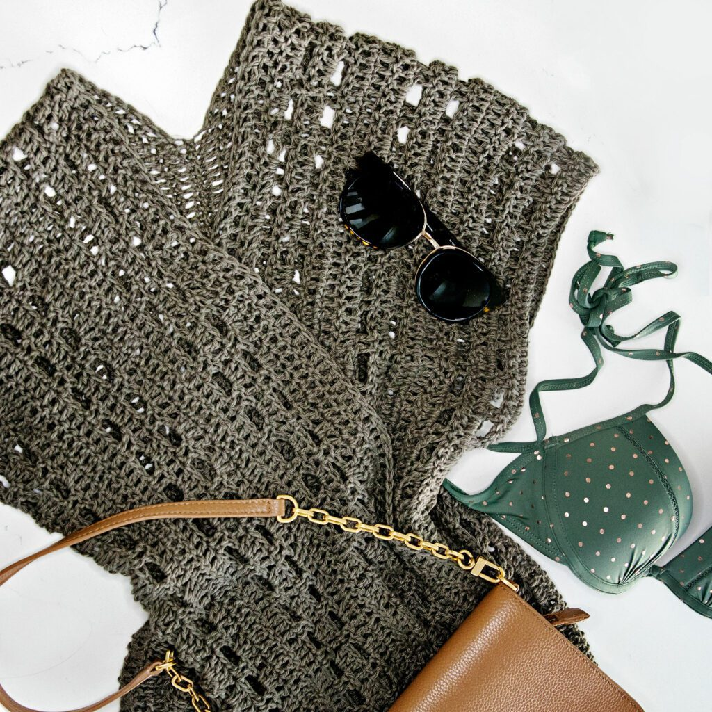 crochet swimsuit cover up with accessories