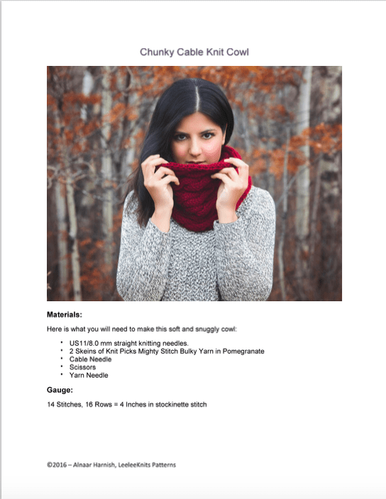 Cable Knit Cowl Pattern Pdf Leelee Knits