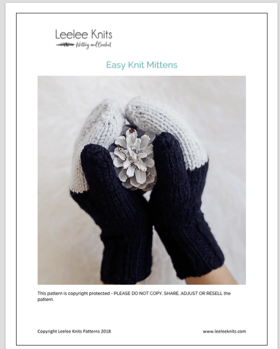 Easy Knit Mittens PDF Download - Leelee Knits